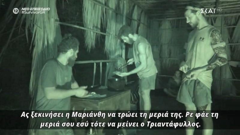Survivor 4: Ο Κόρο προσέφερε φαγητό στον Τριαντάφυλλο και αυτός το αρνήθηκε