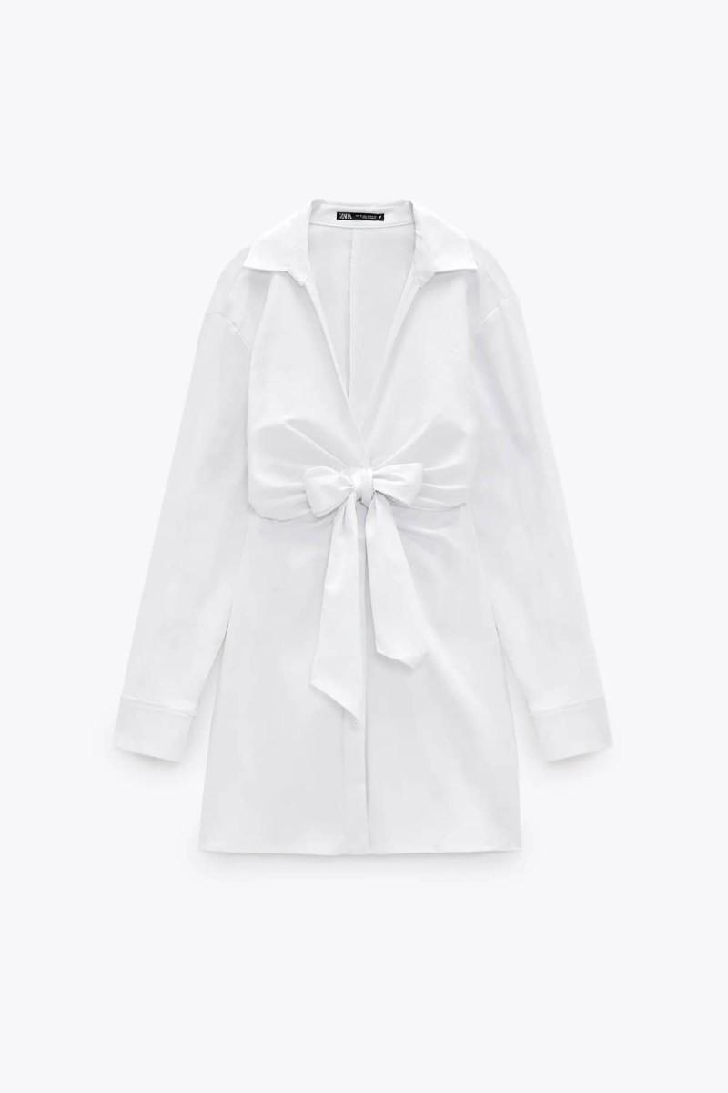 λευκό φόρεμα με φιόγκο