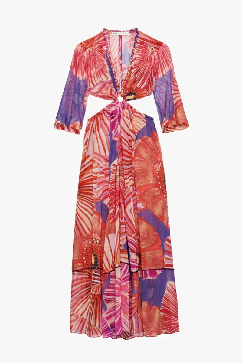 Zara floral φόρεμα μάξι