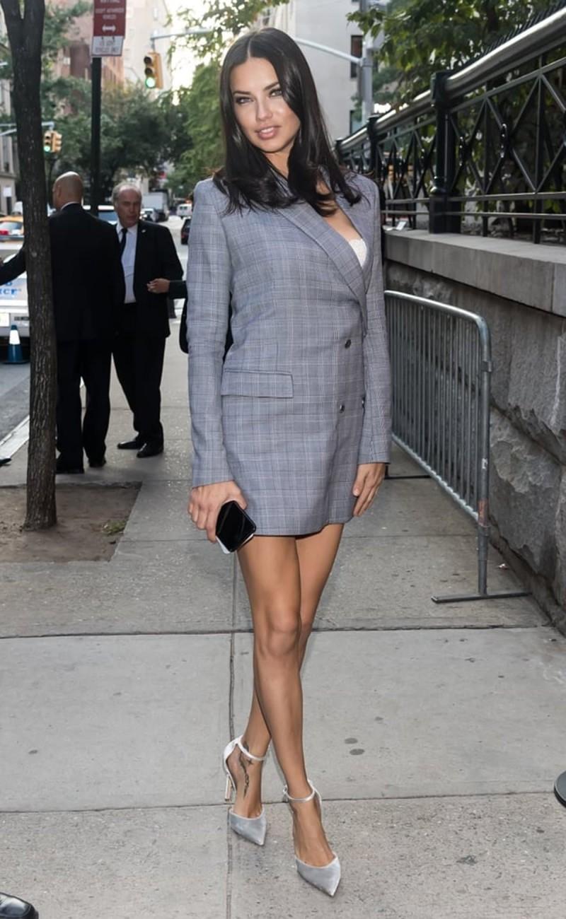 γκρι καρό blazer dress
