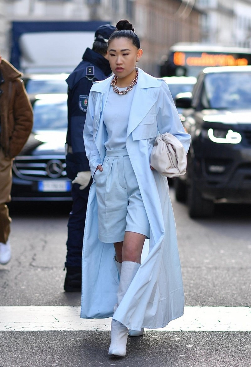baby blue trench coat street style