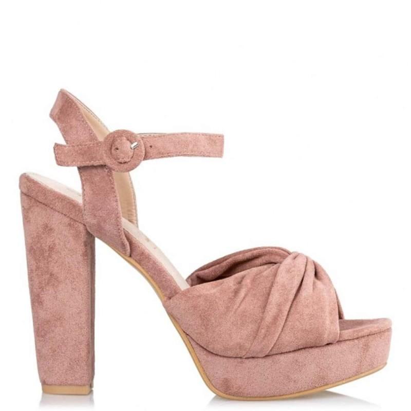 σουέτ ροζ πλατφόρμες