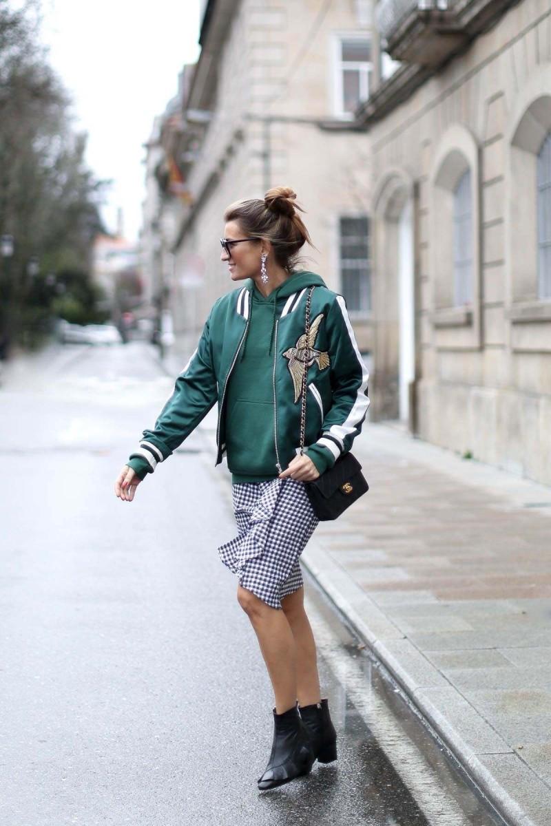 πράσινο φούτερ με φούστα