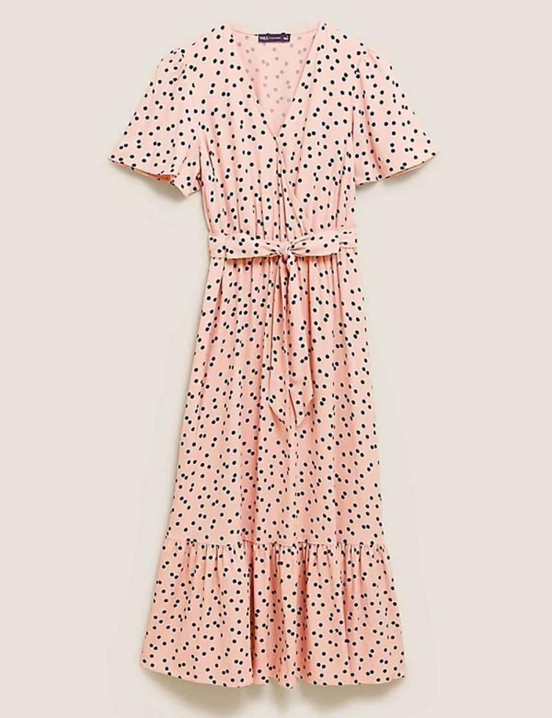ροζ-πουά φόρεμα