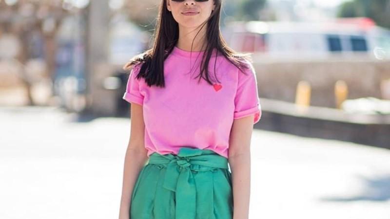 πράσινο και ροζ street style