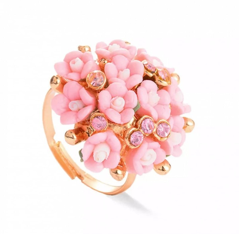 δαχτυλίδι με ροζ λουλούδια