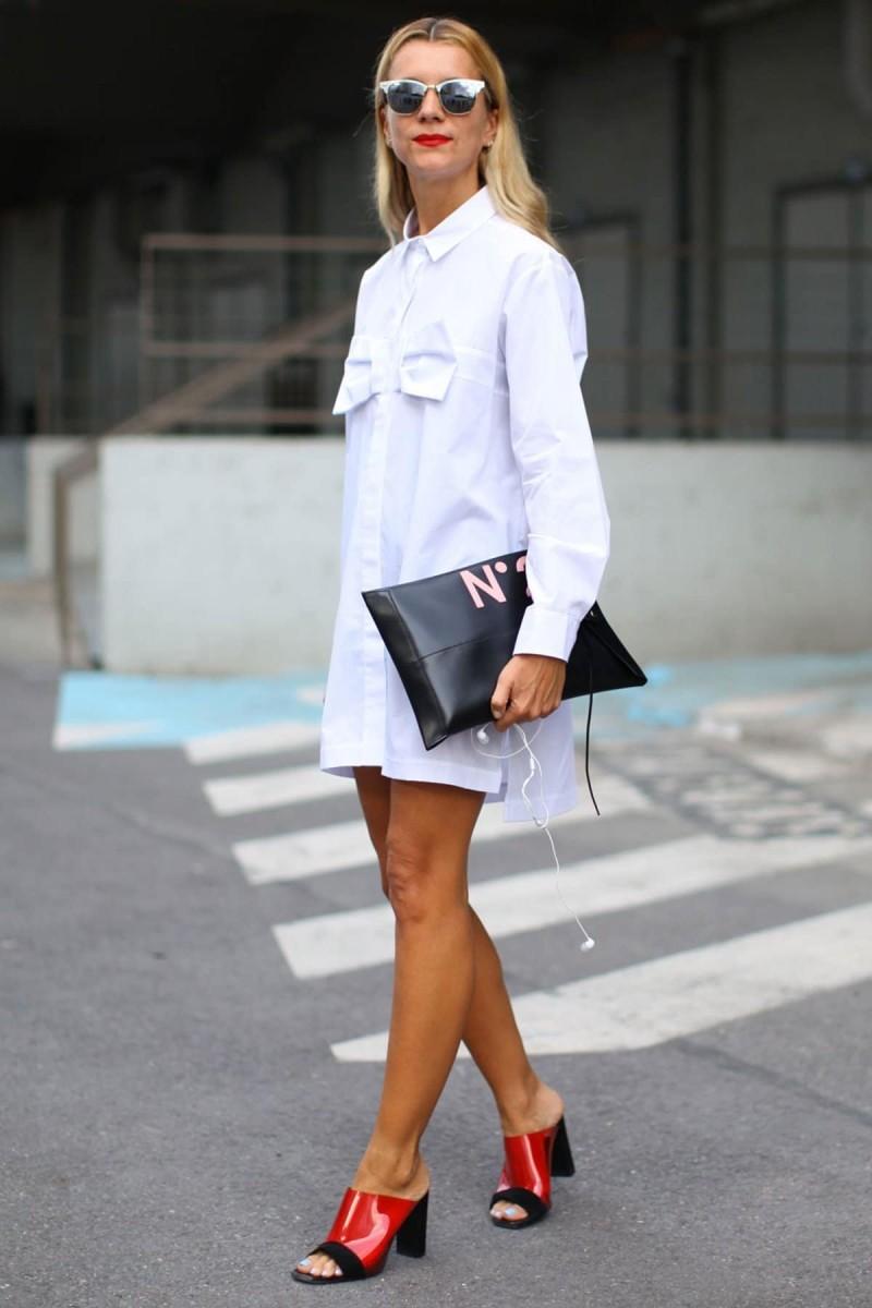 λευκό loose shirt dress