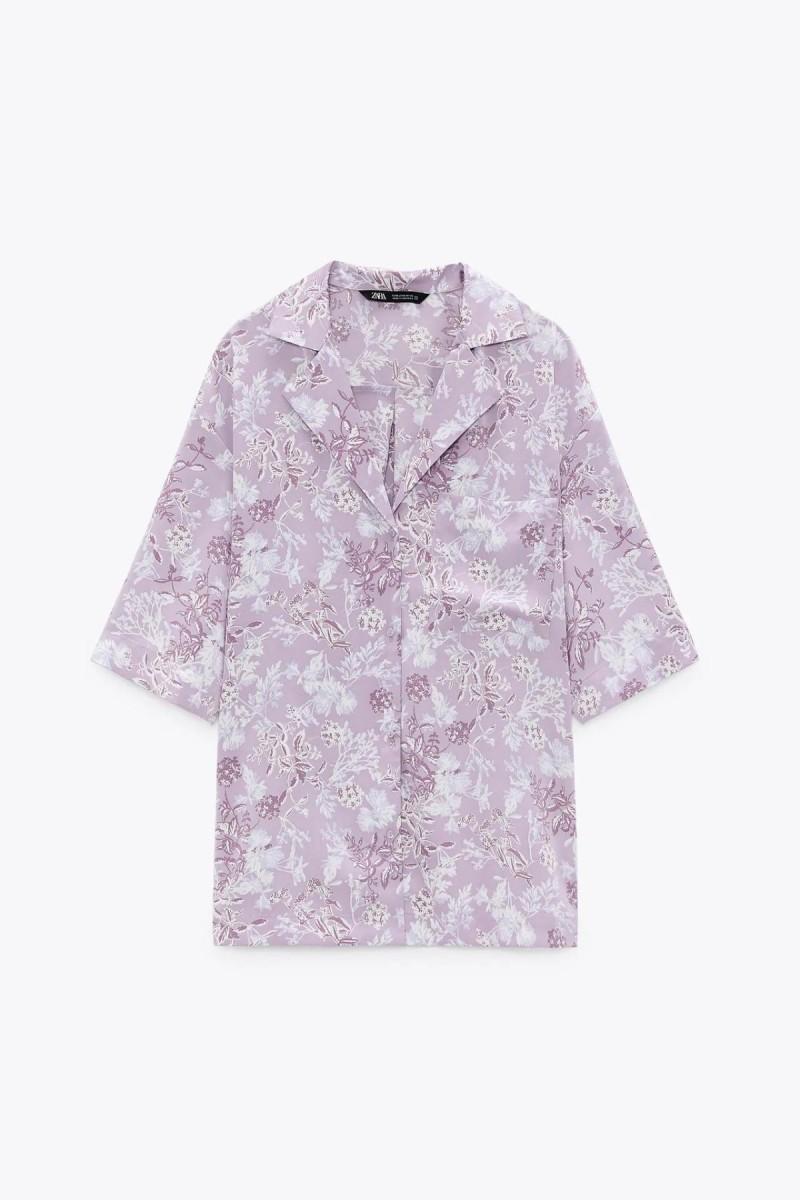 μοβ εμπριμέ πουκάμισο