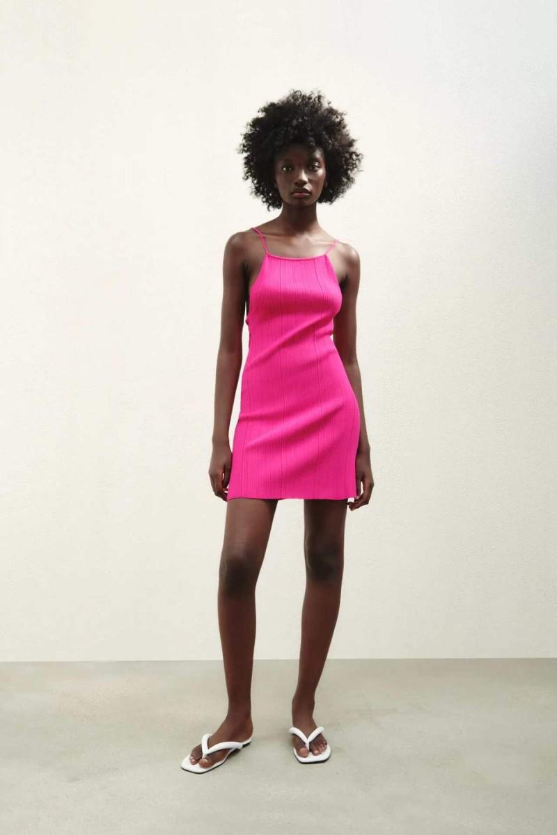 φούξια πλεκτό φόρεμα