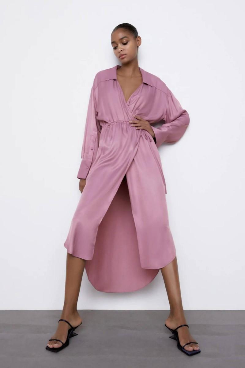 ροζ φόρεμα με ζώνη