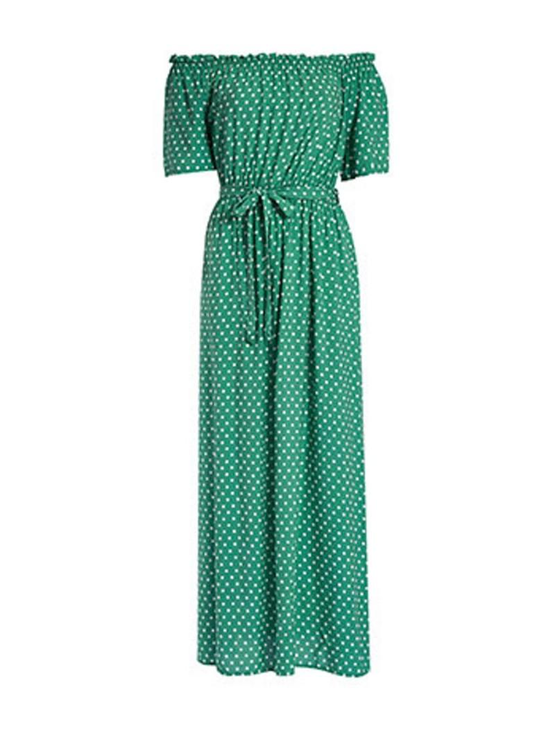πράσινο φόρεμα με πουά