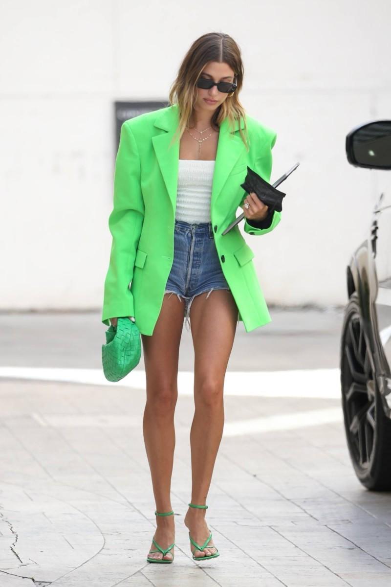 Hailey Bieber street style neon