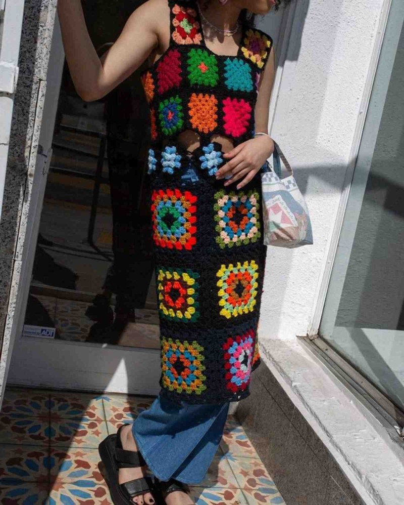 πλεκτό ρετρό φόρεμα