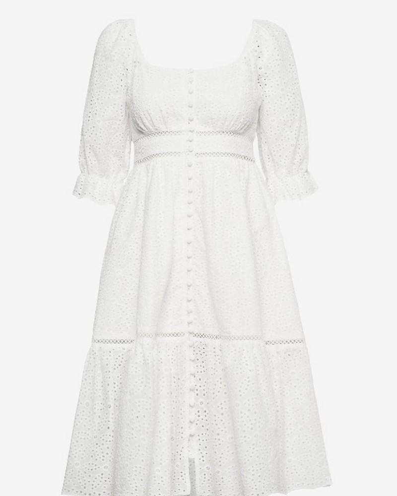 λευκό μίντι φόρεμα
