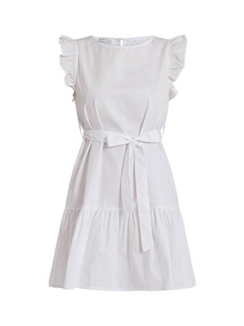 λευκό φόρεμα με ζώνη
