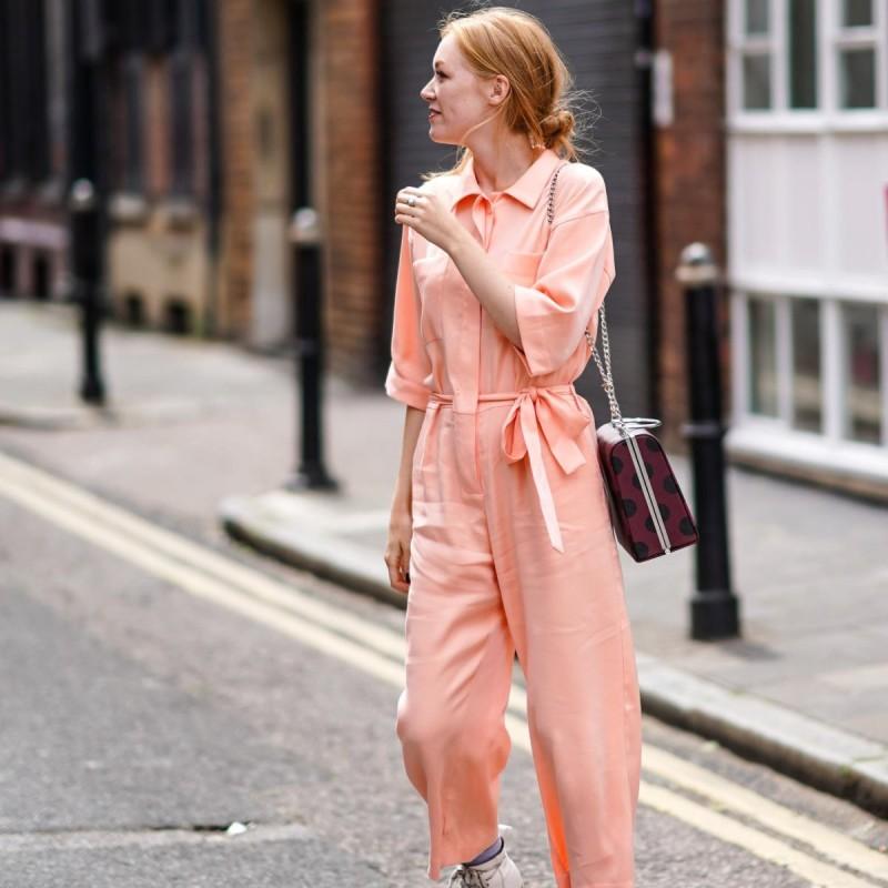 street style pink jumpsuit