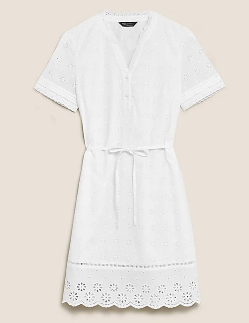 λευκό φόρεμα με δαντέλα