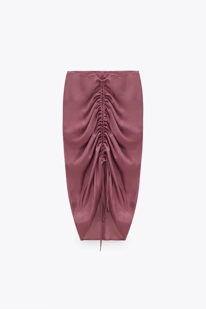 ροζ φούστα με σούρες