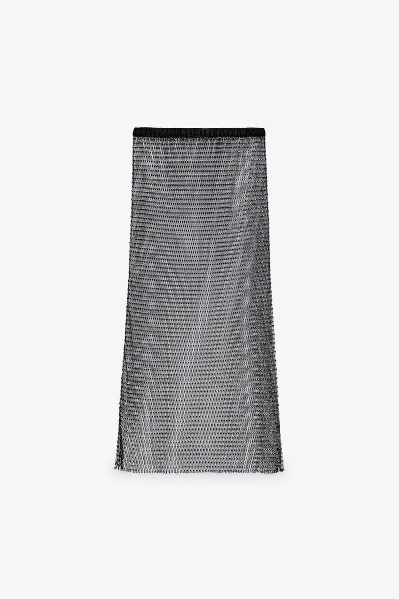ημιδιάφανη γυαλιστερή φούστα Zara